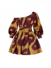 Inclined Shoulder Self-Belted Long Sleeve Dress