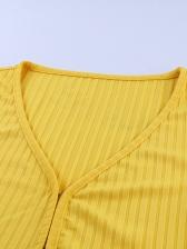 V Neck Short Sleeve Cropped T-shirt