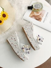 Stereo Faux Pearl Decor Open Toe Slip On Wedges