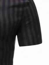 Slim Fit Striped Short Sleeve Shirts For Men