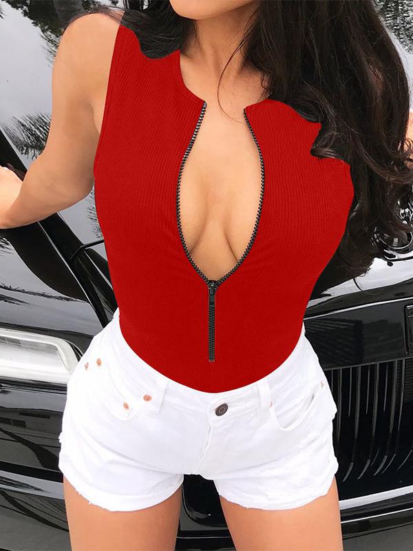Summer Front Zipper Sleeveless Skinny Bodysuit
