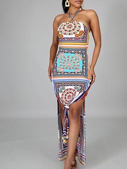 Tribal Print Slit Halter Neck Maxi Dress