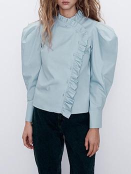 Ruffled Blue Puff Sleeve Blouse