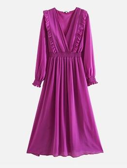 V Neck Stringy Selvedge Long Sleeve Maxi Dress