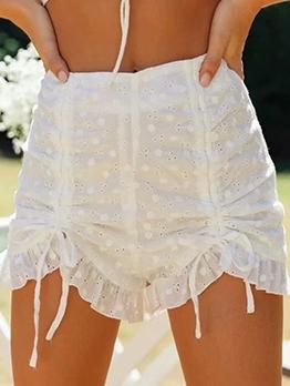 Drawstring Hollow White Short Pants