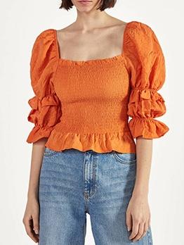 Orange Backless Puff Sleeve Blouse