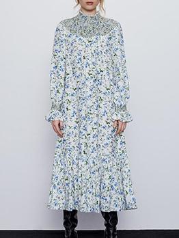 Elegant Long Sleeve Floral Maxi Dress