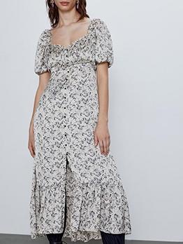 Chic Square Neck Printed Short Sleeve Midi Dress