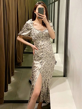 Single-Breasted Ruffled Printed Ladies Midi Dress