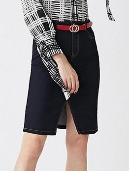 Midi Solid Slit Denim Skirt