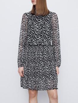 Graceful Geometric Printed Female Long Sleeve Dress
