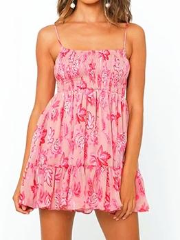 Slim Fit Printed Mini Slip Summer Dresses