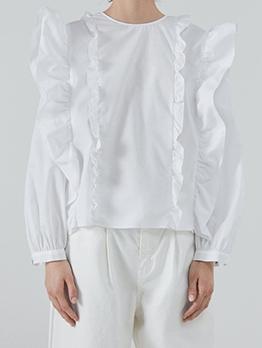 Fashion Stringy Selvedge Pure Color White Blouse
