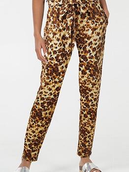 Animal Print Tie-Wrap Long Pants For Women