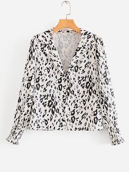 Stylish Notch Collar Leopard Printed Blouse