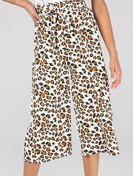 Casual Tie-Wrap Leopard Print Wide Leg Pants