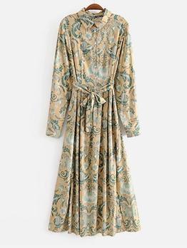 Single-Breasted Printed Long Sleeve Maxi Dress