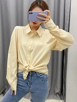 Simple Design Long Sleeve Blouse