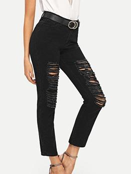 Chic Black Ripped Straight Leg Jeans