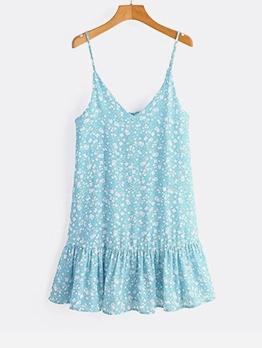 Ruffled Trim Shoulder Strap Casual Dresses