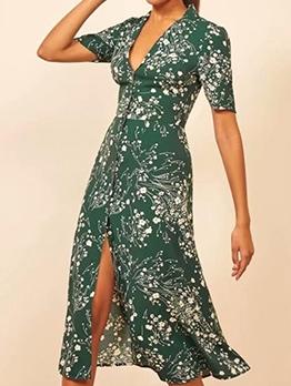 Single-Breasted Printed Short Sleeve Midi Dress