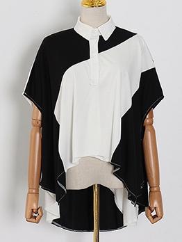 Chic Contrast Color Irregular Hem Short Sleeve Blouse