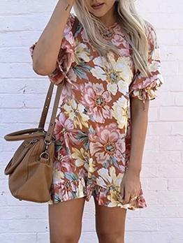 Loose Flower Pattern Women Summer Dresses