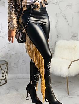 Stylish Side Tassel Decor Leather Pants