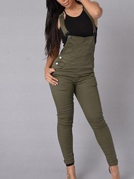 Solid Color Skinny Bottom Sleeveless Denim Overall