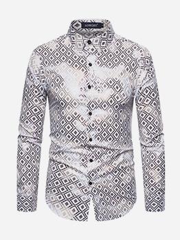 Casual Geometric Printing Button Down Shirt