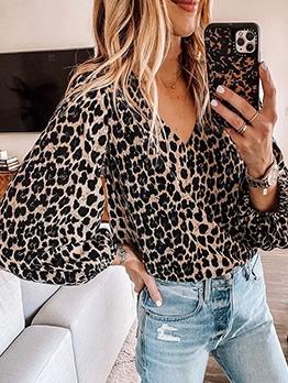 V Neck Long Sleeve Spring Leopard Print Blouse