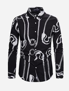 Leisure Turn-Down Collar Long Sleeve Men Shirt