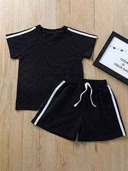 Striped Detail Short Sleeve Black Sport Clothing Sets