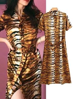 Split Hem Tiger Striped Shirt Maxi Dress