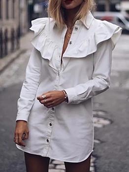 Ruffle Detail Long Sleeve White Shirt Dress