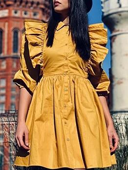 Single-Breasted Ruffle Detail Yellow Shirt Dress