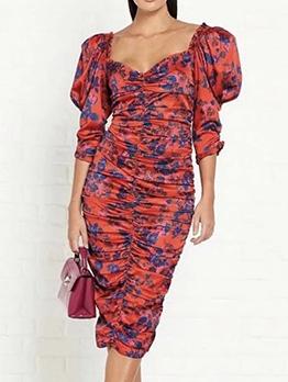 V Neck Puff Sleeve Draped Floral Midi Dress