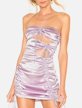 Drawstring Hollow Out Sleeveless Purple Halter Dress