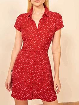 Vintage Style Polka Dot Shirt Dress Summer