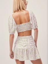 Vintage Floral Drawstring Crop Top And Skirt Set