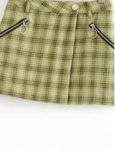 Vintage Zipper Decor Plaid Mini Skirt