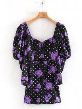 Flower Pattern Polka Dots Long Sleeve Dress