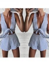 Summer V Neck Striped Two Piece Short Set