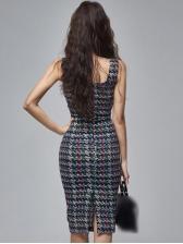 Hot Sale Slit Square Neck Sleeveless Bodycon Dress