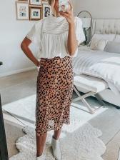 New Arrival Leopard Print Chiffon Midi Skirt