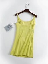 Sexy Solid Satin Sleeveless A-Line Dress