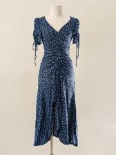 V Neck Blue Floral Maxi Dress For Vacation