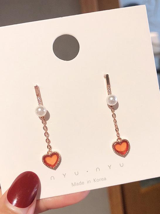 Heart Pendant Chain Earrings For Women