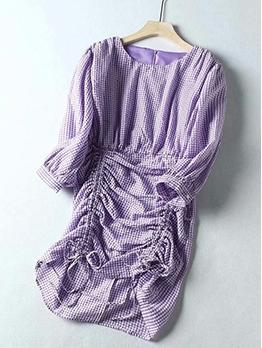 Plaid Purple Drawstring Short Sleeve Casual Dresses