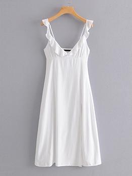 Vacation Backless Ruffle White Sleeveless Dress